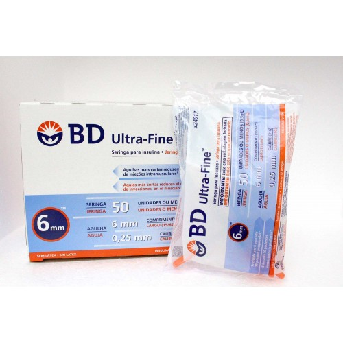 Jeringa de Insulina Becton Dickinson Ultra Fine 31GX 6MM, 0,5 ml - Caja 100 unidades