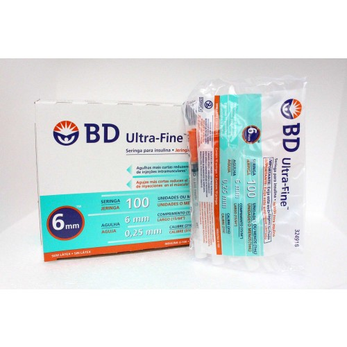 Jeringa de Insulina Becton Dickinson 31GX 6MM, 1 ml - Caja 100 unidades